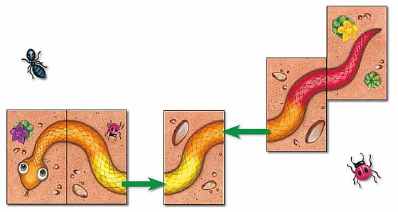 Łączenie dwóch części - Serpentyna Kolorowe węże